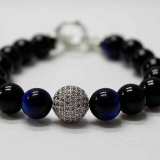 Blue Tiger Eye Powerful Zirconia Ball Bracelet
