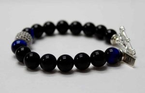 Blue Tiger Eye Powerful Zirconia Ball Bracelet