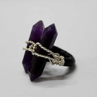 Crystal Quartz Protection Amethyst Ring