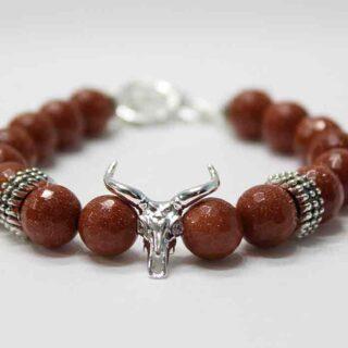 Hallikar Bull Skull Gold Stone Bracelet