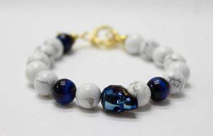 Metallic Blue Swarovski Skull Bracelet